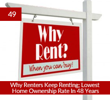 49: Why Renters Keep Renting; Lowest Home Ownership Rate In 48 Years